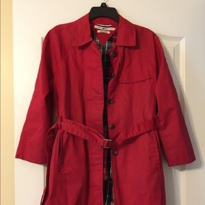 🙈 Tommy Hilfiger Red Trench Coat Sz Med